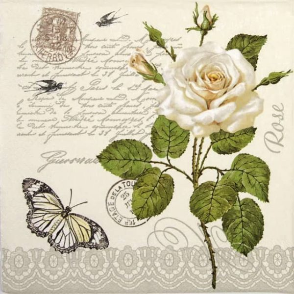 Lunch Napkins (20) - Vintage Rose Twig with Butterfly