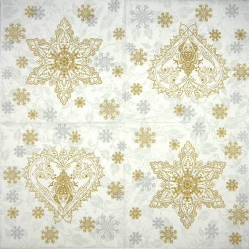 Paper Napkin - Gold & Silver Ornate Snowflakes