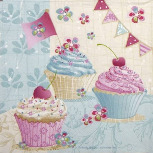 Paper Napkin - Birthday Cup Cakes
