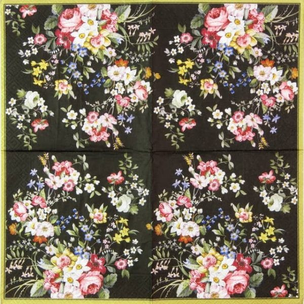 Lunch Napkins (20) - Blooming Opulence Black