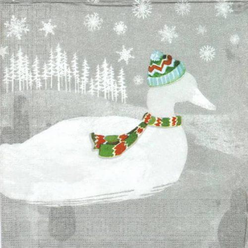 Paper Napkin - Woodland Duck silver
