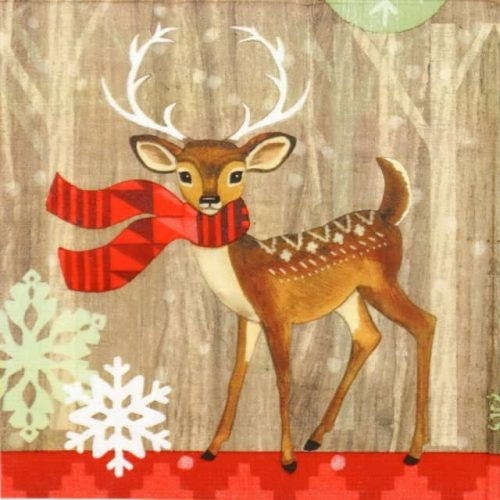 Paper Napkin - Jennifer Brinley: Deer with Scarf
