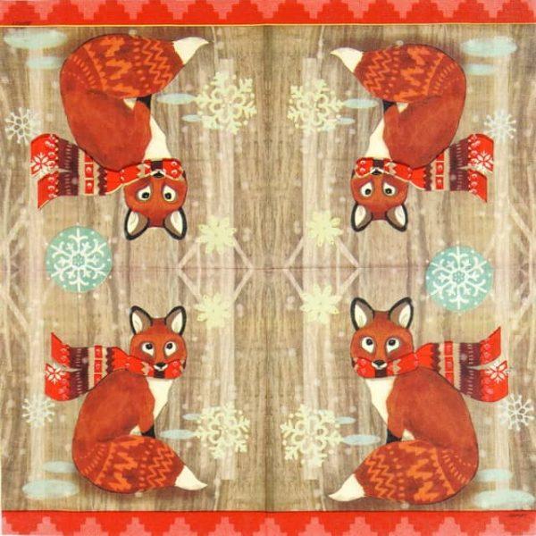 Paper Napkin - Jennifer Brinley: Fox with Scarf