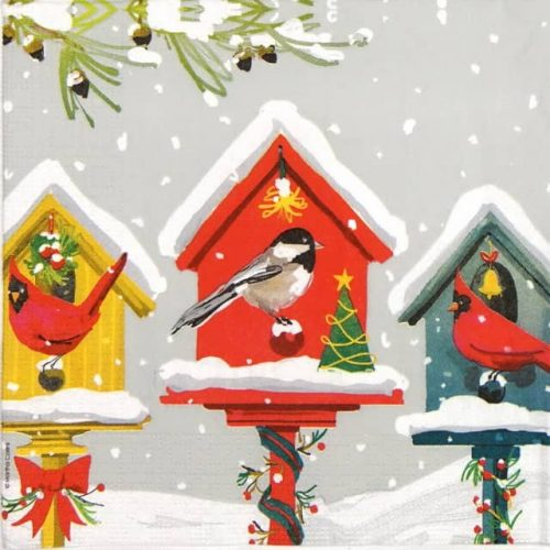 Paper Napkin - Martha Collins: Holiday Birdhouse