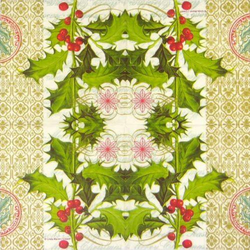 Paper Napkin - Linda Maron: Holly Berries