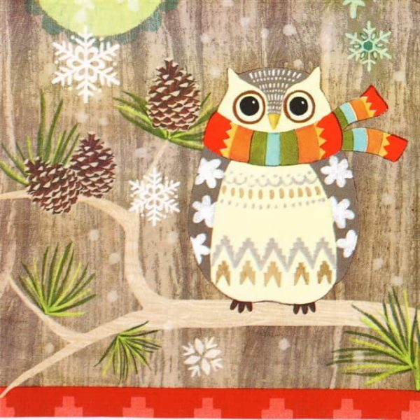 Paper Napkin - Jennifer Brinley: Owl with Scarf