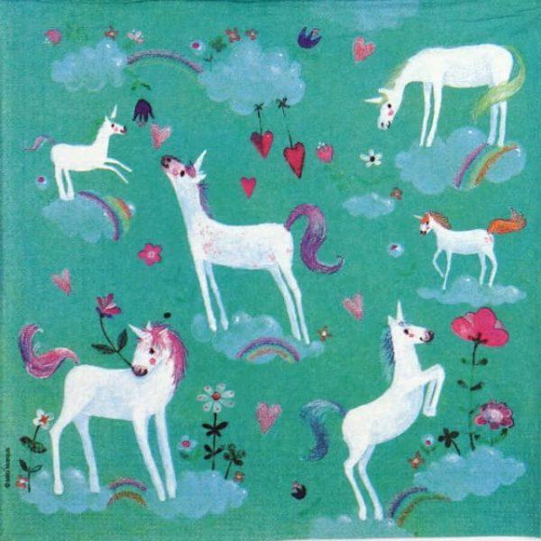Paper Napkin - White Unicorns