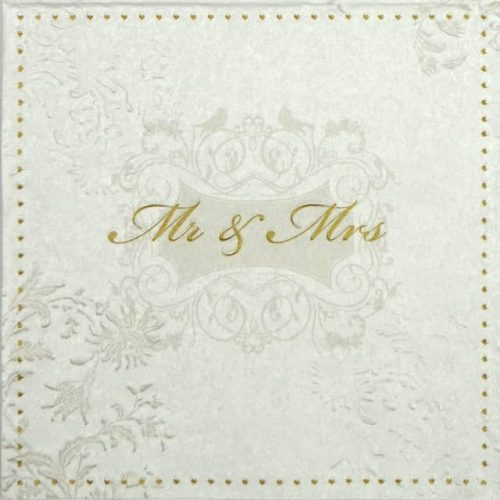 Paper Napkin - Mr & Mrs Embossed Gold