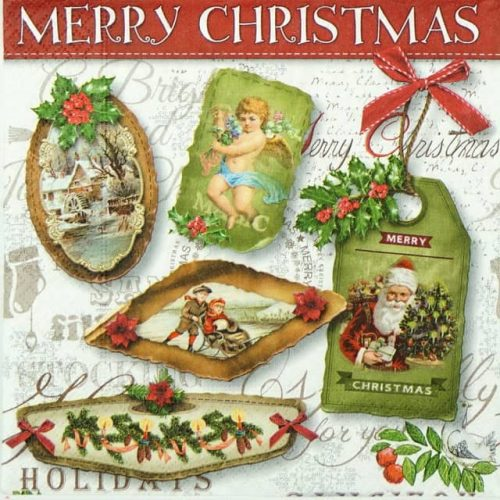 Paper Napkin - Christmas Labels