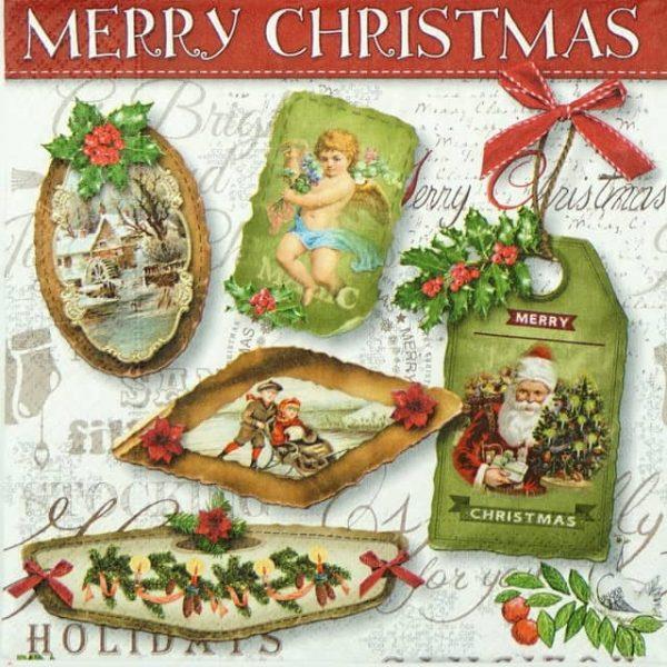Paper Napkin - Christmas Labels