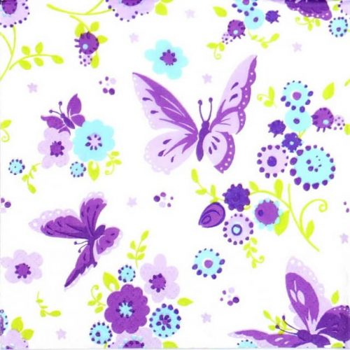 Paper Napkin - Purple Butterfly