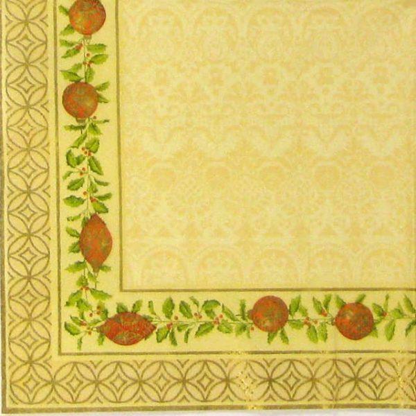 Paper Napkin - Christmas Border cream