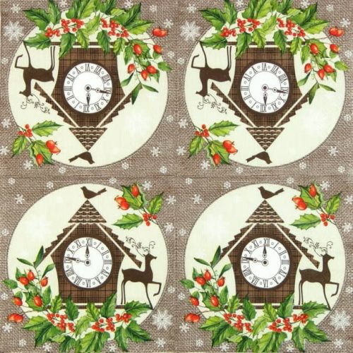 Lunch Napkins (20) - Winter Clock