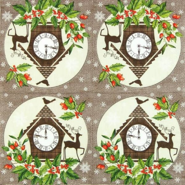 Paper Napkin - Winter Clock
