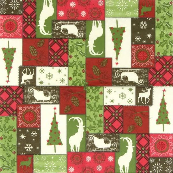 Paper Napkin - Winter Patchwork