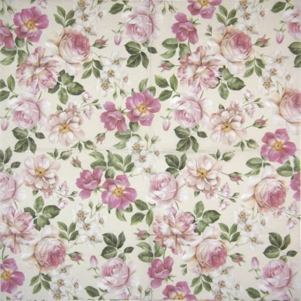 Lunch Napkins (20) - Roses Glory cream