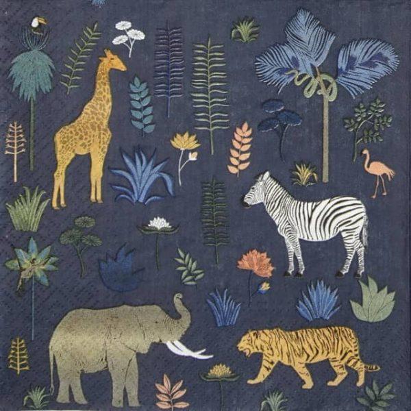 Lunch Napkins (20) - Wild Animals giraffe zebra elephant tiger