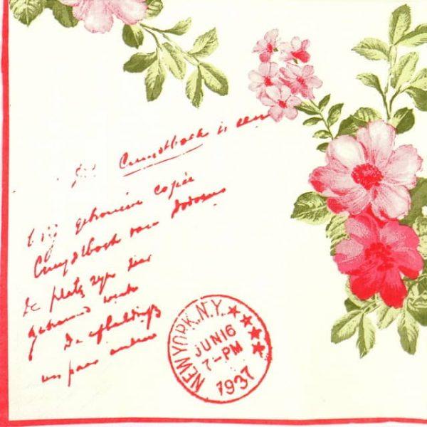 Paper Napkin - Stamp & Flower Red