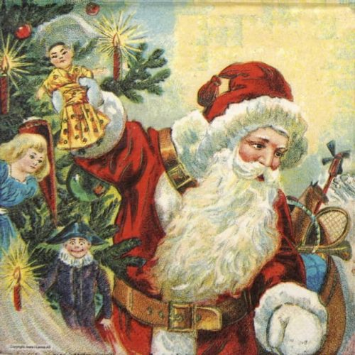 Paper Napkin - Santa and Puppets