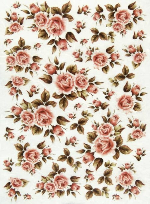 Rice Paper - Tiny Pink Roses
