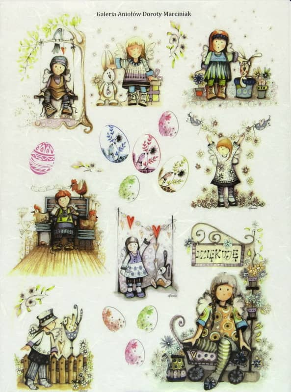 Rice Paper - Easter, Small Angels with eggs