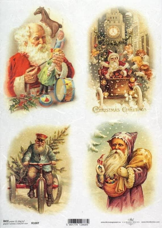 Rice Paper - Vintage Working Santa