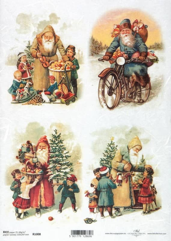 Rice Paper - Vintage Friendly Santa