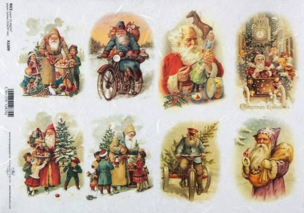 Rice Paper - Vintage Friendly Santa2