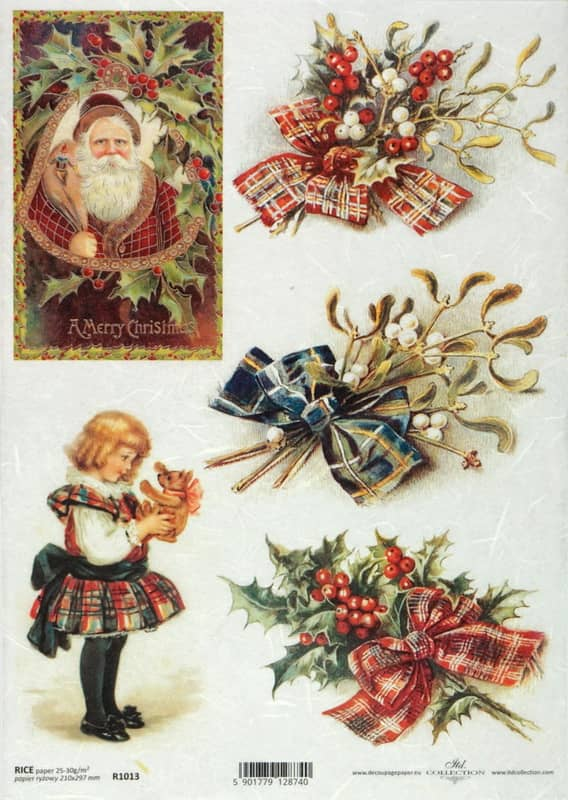Rice Paper - Vintage Merry Cristmas