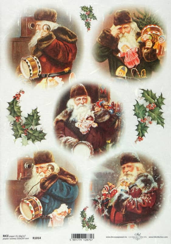 Rice Paper - Vintage Hallo Santa!