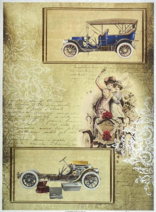 Rice Paper - Vintage Old Cars Ocher