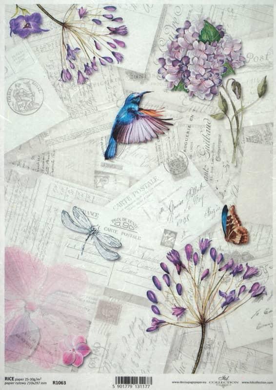 Rice Paper - Vintage Flower & Letter