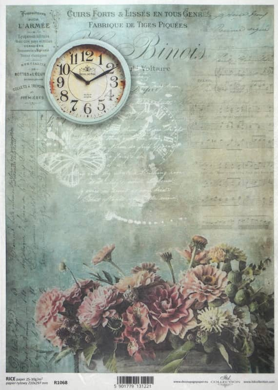 Rice Paper - Vintage Flower & Clock