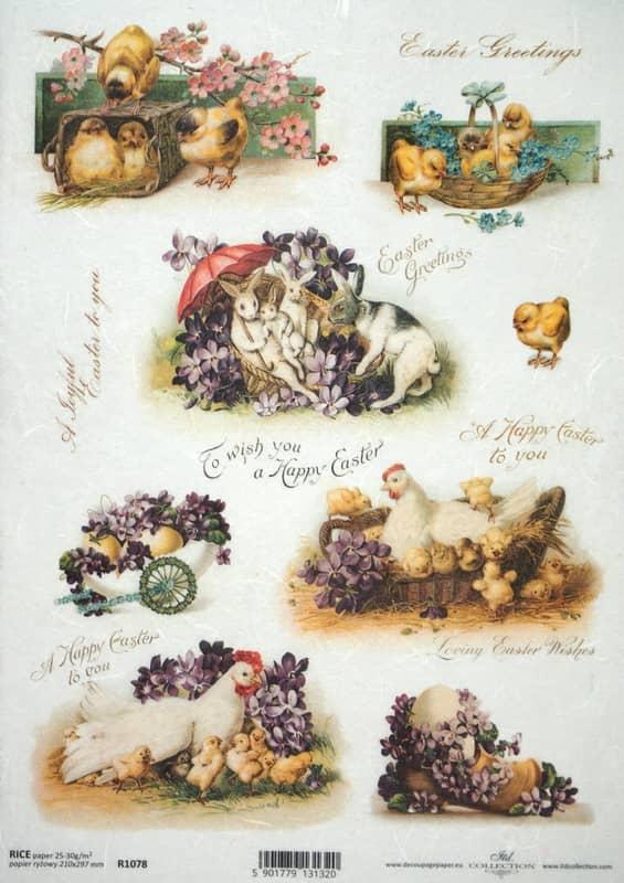 Rice Paper - Vintage Happy Easter 2