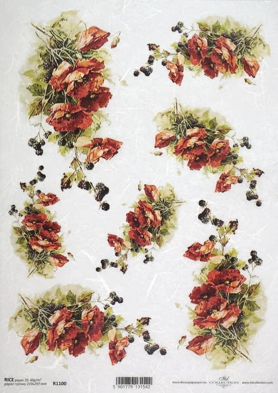 Rice Paper - Vintage Poppy