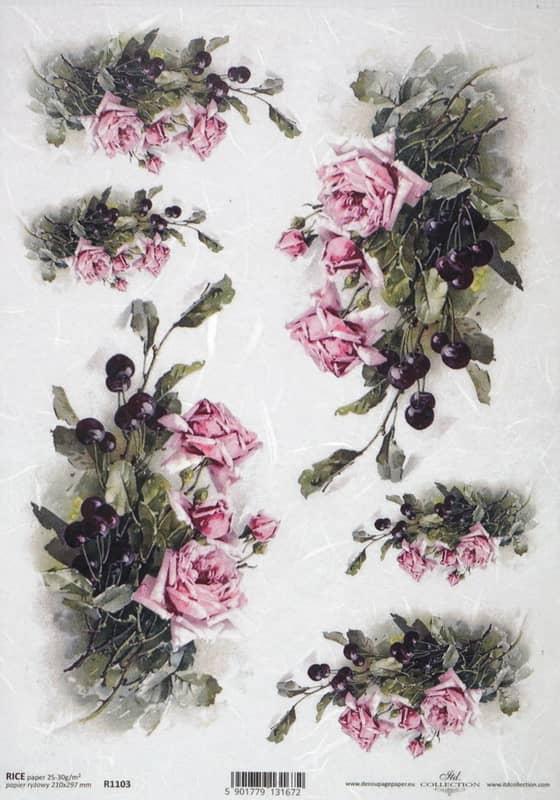 Rice Paper - Vintage Pink Roses
