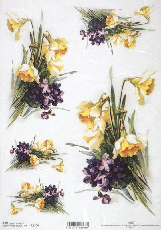Rice Paper - Violets and Daffodils