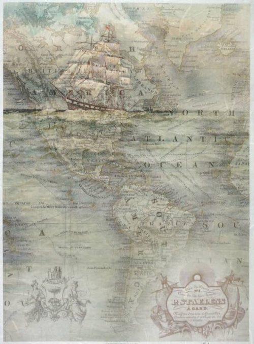 Rice Paper - Vintage Old Map