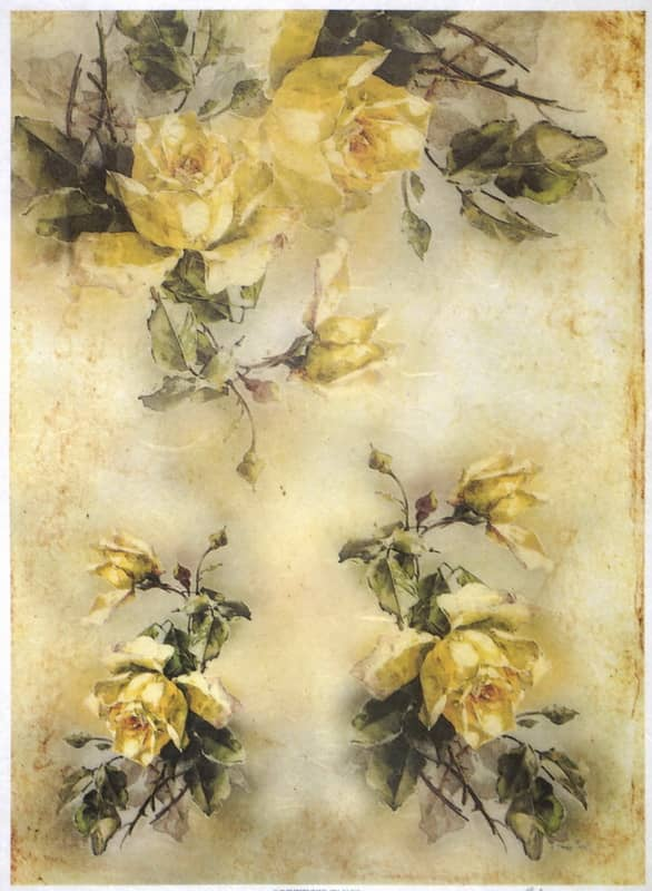 Rice Paper - Yellow Roses Bouquets