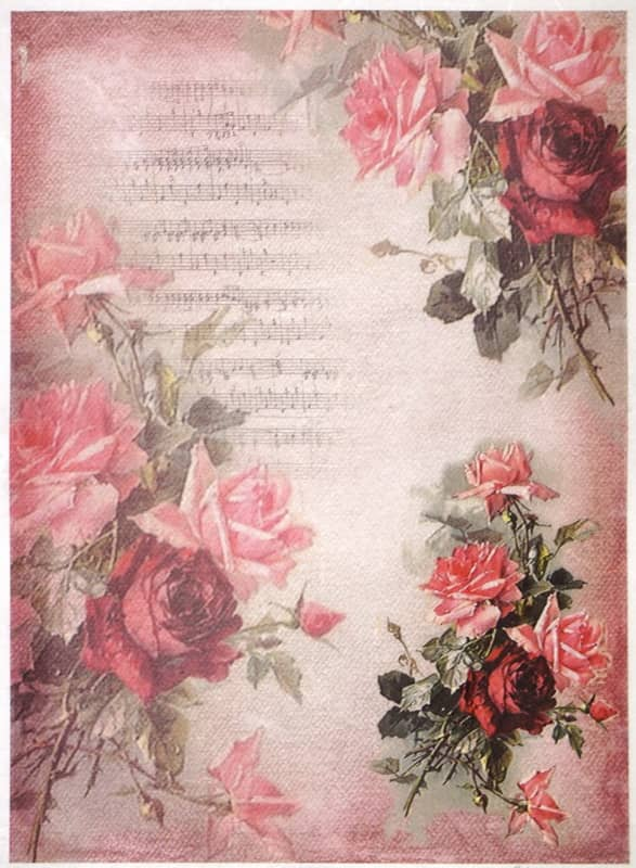 Rice Paper - Red roses on pink backgroun-
