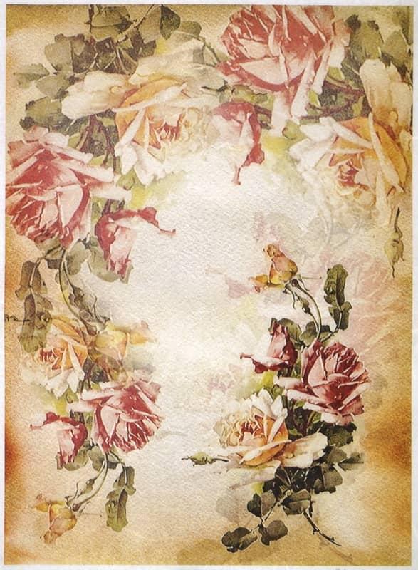 Rice Paper - Roses wreath-