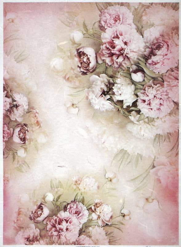 Rice Paper - Rose and white peonies-