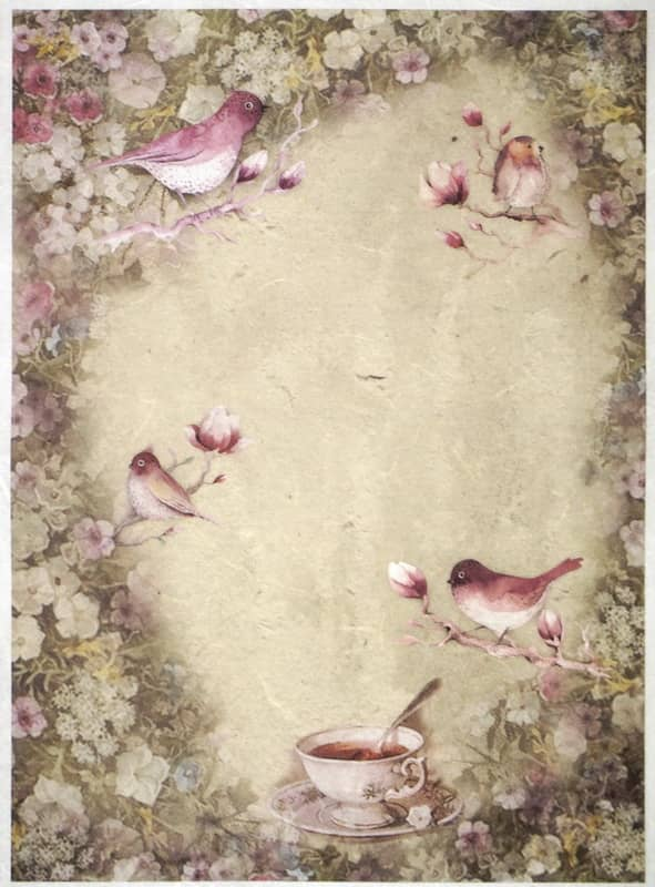 Rice Paper - Little birds and a tea-