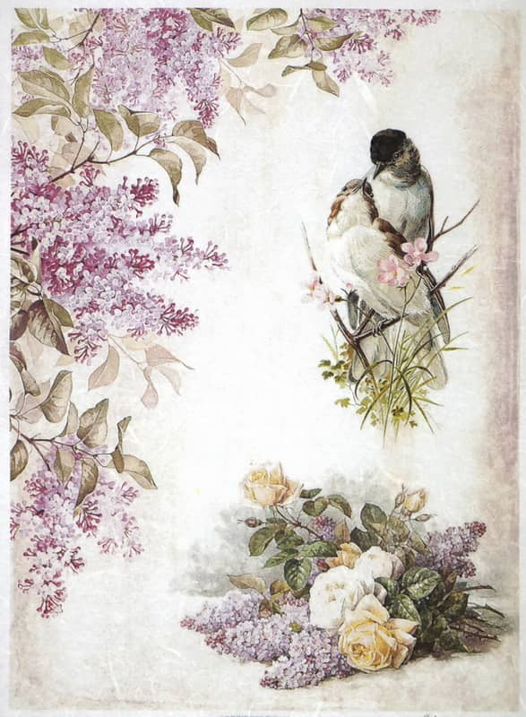 Rice Paper - Lilac flower and two birds