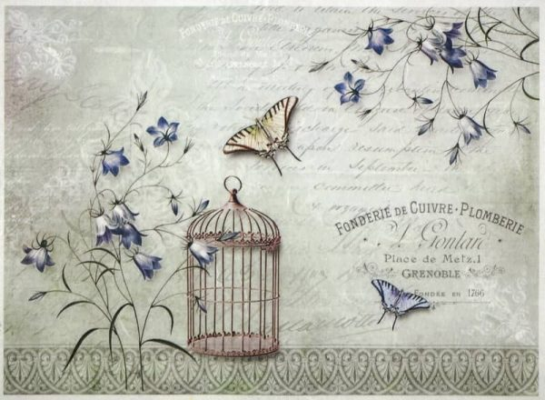 Rice Paper - Butterflies and a birdcage-