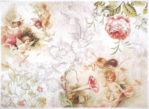 Rice Paper - Smiling angels and flowers