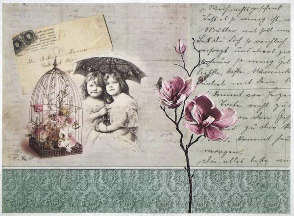 Rice Paper - Childer umbrella and flower-