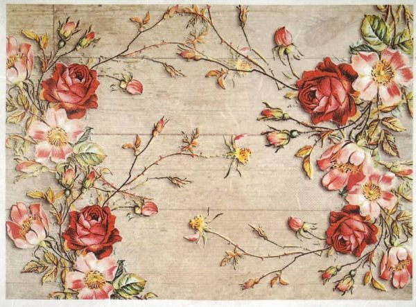 Rice Paper - Similar roses on a wooden floor-