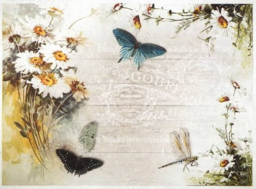 Rice Paper - Butterflies dragonfly flower-
