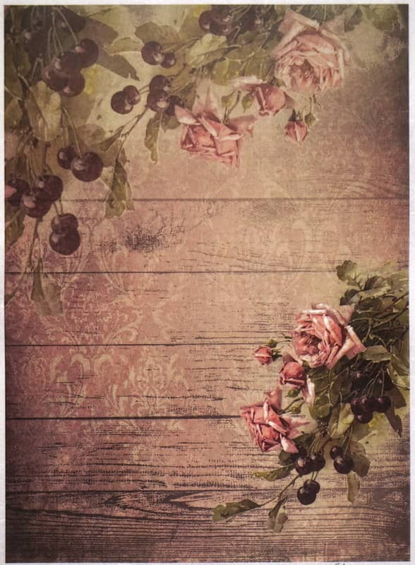 Rice Paper - Cherry and Roses Wallpaper